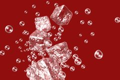 Abstract ice cubes and bubbles on a red background. Stock Images