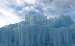 Abstract Ice Sculptures Against A Cloudy Sky stock images