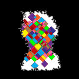 Abstract iceberg with colored squares. On the black background. squares are in different colors and yellow, green, purple, red, orange, blue ... my graphic work Royalty Free Illustration