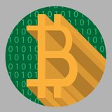Abstract icon of crypto-currencies bitcoin with green binary code on background Royalty Free Stock Photos
