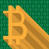 Abstract icon of crypto-currencies bitcoin with green binary code on background stock photo