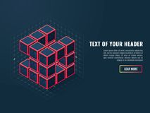 Abstract icon of digital cubes, concept of compilation of a software product, isometric vector. Illustration Royalty Free Stock Photos