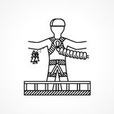 Abstract icon for extreme sport. Rope jumper. Stock Image