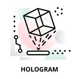 Abstract icon of hologram. Abstract icon of future technology - hologram on color geometric shapes background, for graphic and web design Stock Photo