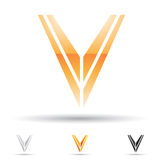 Abstract icon for letter V Stock Photo