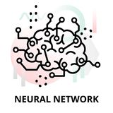 Abstract icon of neural network. Abstract icon of future technology - neural network on color geometric shapes background, for graphic and web design Stock Images