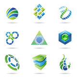 Abstract Icon Set 11. Abstract blue and green icon set isolated on a white background royalty free illustration