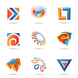 Abstract Icon Set 12. Abstract blue and orange icon set isolated on a white background royalty free illustration