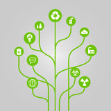 Abstract icon tree illustration - environment, ecology and nature protection concept Royalty Free Stock Images