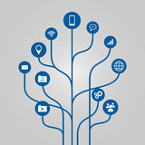 Abstract icon tree illustration - phone, communication and technology concept Stock Image