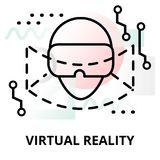 Abstract icon of virtual reality. Abstract icon of future technology - virtual reality on color geometric shapes background, for graphic and web design Royalty Free Stock Photo