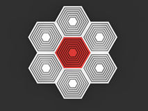 Abstract iconic hexagon shapes Stock Photography