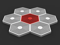 Abstract iconic hexagon shapes - red and white Stock Photos