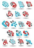 Abstract icons with arrows, map pointers, mazes. Abstract geometric design elements showing unusual compositions of arrows, waves, curves, mazes and map pointers Royalty Free Stock Images