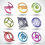 Abstract icons 3d designs vector set. Abstract icons 3d designs vector set, round symbols collection Stock Photography