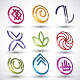 Abstract icons 3d designs vector set. Royalty Free Stock Photography