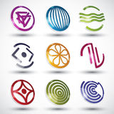 Abstract icons of different shapes vector set. Royalty Free Stock Photo