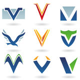 Abstract icons for letter V Stock Photos