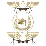 Abstract icons with a machine gun. Icons with abstract wings and machine guns. Illustration on white background Royalty Free Stock Photo