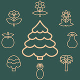 Abstract icons outline of the subjects trees flower and fruit. Symbol of nature and naturalness. Logo design elements for organic Stock Photos