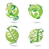 Abstract icons set. Set of four abstract green icons Royalty Free Stock Photo