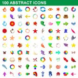 100 abstract icons set, cartoon style. 100 abstract icons set in cartoon style for any design illustration vector illustration