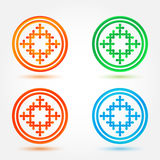 Abstract icons set made of circles and crosses Stock Photos