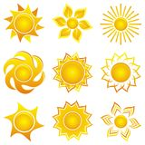 Abstract icons of sun Stock Photos