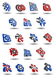 Abstract icons, symbols and logos. Set in 3D style for business design Royalty Free Stock Photos