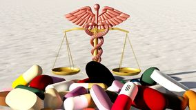 Abstract idea of justness in medicine 3d rendering Royalty Free Stock Image