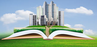 Free Abstract Idea Of Modern Building In Green Grass Field Royalty Free Stock Image - 31213566