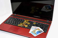 Abstract idea of playing online poker. Royalty Free Stock Photos