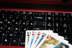 Abstract idee van het spelen online pook Stock Afbeelding