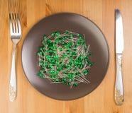 Abstract idee van technologie als voedsel, sommige leds op de plaat Stock Afbeelding