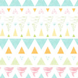 Abstract ikat triangles stripes seamless pattern. Vector abstract ikat triangles stripes seamless pattern background with hand drawn elements Stock Photos