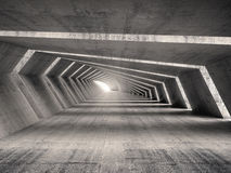 Abstract illuminated 3d empty bent concrete corridor interior Stock Photo