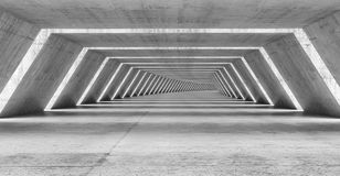 Abstract illuminated empty bent corridor interior. Made of gray concrete, 3d illustration Stock Photography