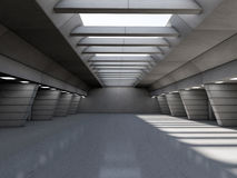 Abstract illuminated empty corridor interior. 3D. Rendering stock illustration