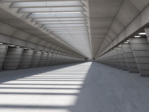 Abstract illuminated empty corridor interior. 3D. Rendering vector illustration