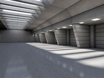 Abstract illuminated empty corridor interior. 3D. Rendering Stock Photography