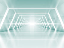 Abstract illuminated empty light blue shining corridor interior Stock Photography