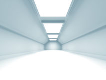 Abstract illuminated empty white corridor interior. 3d render illustration Royalty Free Stock Image
