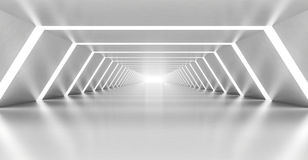 Abstract illuminated empty white corridor interior. Made of shining metal, 3d illustration Royalty Free Stock Images