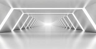 Abstract illuminated empty white corridor interior Royalty Free Stock Images