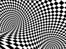 Abstract illusion. Black and white. Background with tube shape with checkered pattern. 3d render Stock Photos