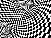 Abstract illusion. Black and white. Background with tube shape with checkered pattern. 3d render Royalty Free Stock Images