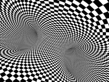 Abstract illusion. Black and white. Background with tube shape with checkered pattern. 3d render stock illustration