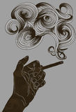 Abstract illustrated hand holding a cigarette royalty free illustration