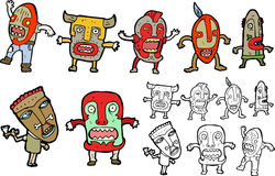 Masked people cartoon Royalty Free Stock Photos