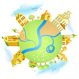 Abstract illustration. With houses and river Stock Image